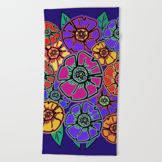 Abstract #462 - Flower Power #13 Beach Towel