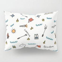 Adventure Pattern | Camping Pattern | Hiking Pattern | Hand Drawn Outdoors Pattern Pillow Sham