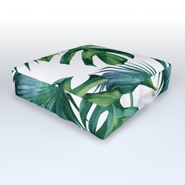 Classic Palm Leaves Tropical Jungle Green Outdoor Floor Cushion