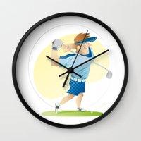 golf Wall Clocks featuring Golf by Dues Creatius