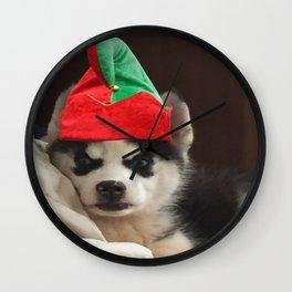 Husky Puppy Elf Wall Clock