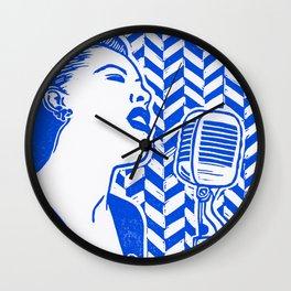 Lady Day (Billie Holiday block print) Wall Clock