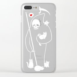 Death is a cat person Clear iPhone Case