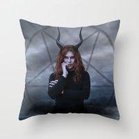 satan Throw Pillows featuring satan by tadzioautumn