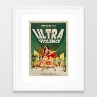 ultraviolence Framed Art Prints featuring ULTRAVIOLENCE by Ads Libitum