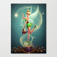 tinker bell Canvas Prints featuring Tinker Bell by Felipe Kimio