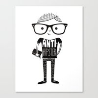 hipster Canvas Prints featuring Anti-hipster by Farnell
