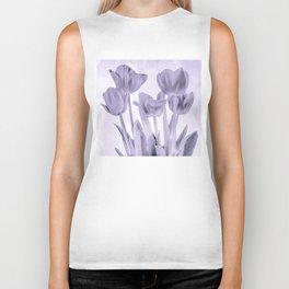 Tulips (b&w) Biker Tank