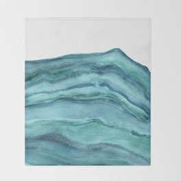 Watercolor Agate - Teal Blue Throw Blanket