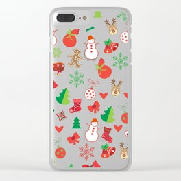 Happy New Year and Christmas Symbols Decoration Clear iPhone Case