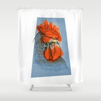 rooster Shower Curtains featuring Rooster by Daniele Barillari