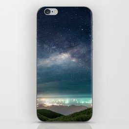 Milky Way over Hong Kong Lights iPhone Skin