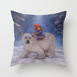 A Girl and her Polar Bear Friend Throw Pillow