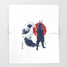 Wave Samurai Throw Blanket