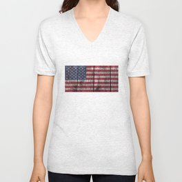 USA flag - on grainy wood Unisex V-Neck