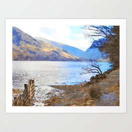 Little Tree at Buttermere, Lake District UK Watercolour Painting Art Print
