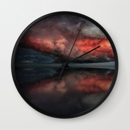 Red cloud reflect Wall Clock