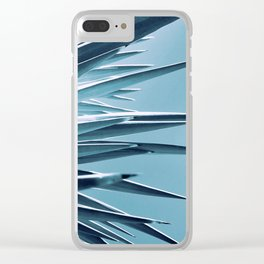 Palm Rays - Duotone Black and Teal Clear iPhone Case