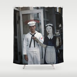 SAILOR BOY 1950s - Table for Two Shower Curtain