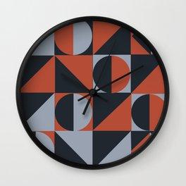 a study in polygons-light blue/dark blue/peach Wall Clock