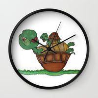 turtles Wall Clocks featuring Turtles by BNK Design