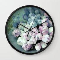 antique Wall Clocks featuring Tulips Antique by Joke Vermeer
