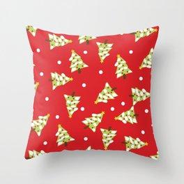 Red Green Modern Christmas Tree Throw Pillow
