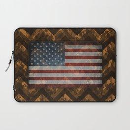 Copper Orange Digital Camo Chevrons with American Flag Laptop Sleeve