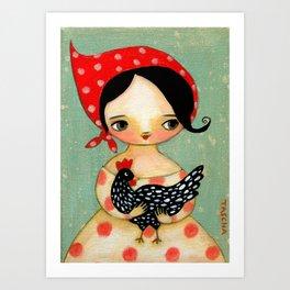 Babusha Girl with Speckled Chicken Art Print