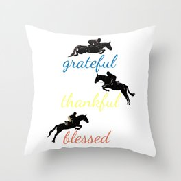 Grateful Thankful Blessed Horse Jumping Throw Pillow