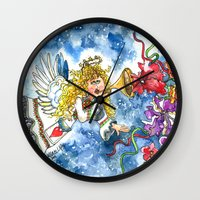 angel Wall Clocks featuring Angel by Shelley Ylst Art