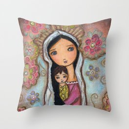 Madonna with Child and Flowers by Flor Larios Throw Pillow
