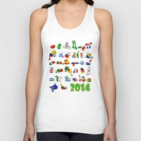 world cup Tank Tops featuring WORLD CUP KITTEHS 2014 by Helenasia