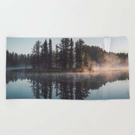 Foggy lake  #society6 Beach Towel