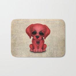 Cute Puppy Dog with flag of Albania Bath Mat