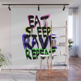 Eat, Sleep, Rave, Repeat Wall Mural