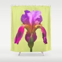 acid Shower Curtains featuring acid iris by EnglishRose23