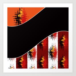 Bright colorful abstract pattern in red and black colours . Patchwork . Art Print