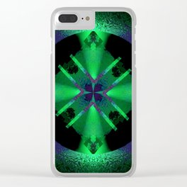 Spinning Wheel Hubcap in Green Clear iPhone Case