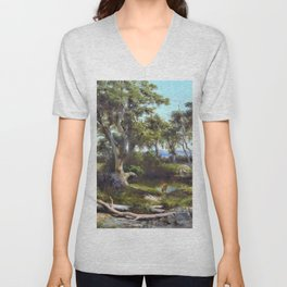 12,000pixel-500dpi - Louis Buvelot - Sheep wash in the western district - Digital Remastered Edition Unisex V-Neck