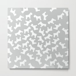 Silver Schnauzers - Simple Dog Silhouettes Pattern Metal Print