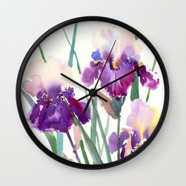 Irises, purple floral art, garden iris Wall Clock