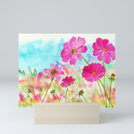 Symphony In Pink, Watercolor Wildflowers Mini Art Print