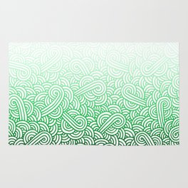 Gradient green and white swirls doodles Rug