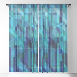 abstract composition in blues Sheer Curtain