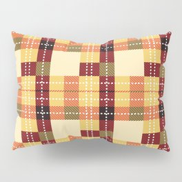 Plaid White Stitch Yellow And Brown Lumberjack Flannel Pillow Sham