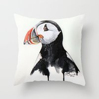 puffin Throw Pillows featuring Puffin by Paint the Moment