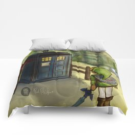 two worlds collide (Doctor Who and Leyend of zelda) Comforters