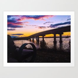 Bench at Sunset by the Casco Bay Bridge Art Print