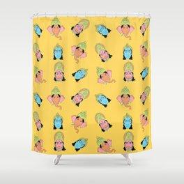 Yellow Krishna, Ganesha, and Hanuman pattern Shower Curtain